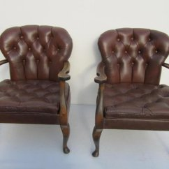 Queen Anne Style Chair Ladder Back Leather Chairs 1940s Set Of 2 For Sale At Pamono
