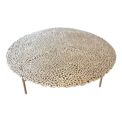 jean cast butterfly indoor or outdoor coffee table in white bronze by fred juul