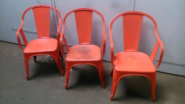 red chairs for sale colorful wooden vintage industrial chair by xavier pauchard tolix set of 3