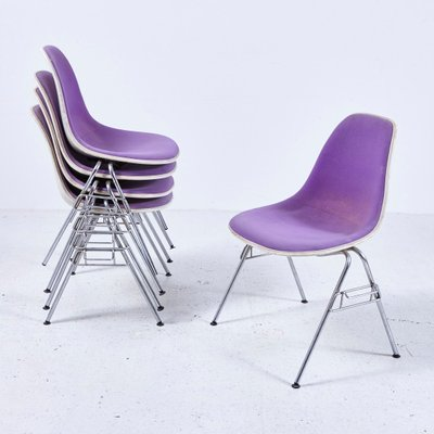 herman miller stacking chairs 2 rocking instrumental american dss n upholstered fibreglass chair by charles ray eames for