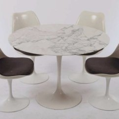 Table With Swivel Chairs Ghost Chair Replica Vintage Tulip Dining Marble Top 4 By Eero Saarinen For Knoll