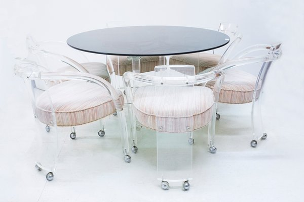 table and 6 chairs set lucite dining by charles hollis jones 1960s