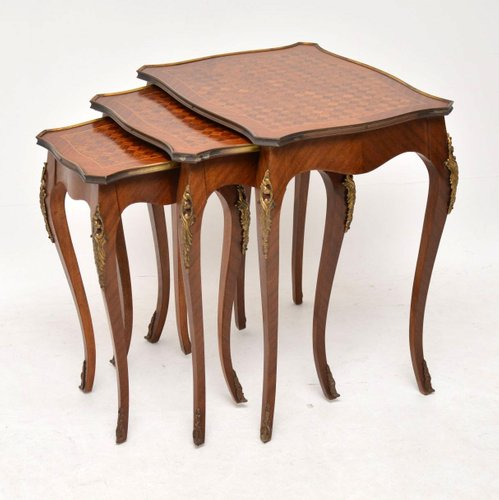 vintage french inlaid parquetry wooden nesting tables 1920s