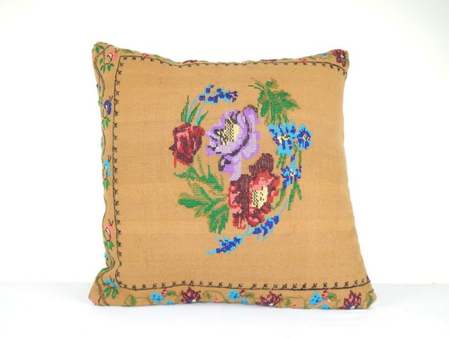 small needlepoint tapestry aubusson kilim pillow cover from vintage pillow store contemporary