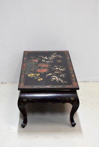 table basse vintage en bois laque noir chine