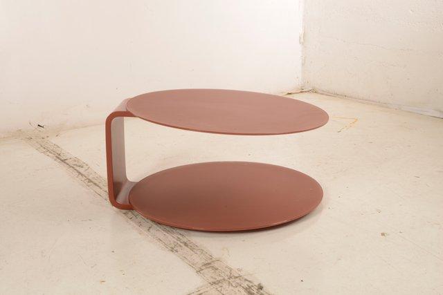 table basse ronde vintage en bois et verre rouge italie 1970s