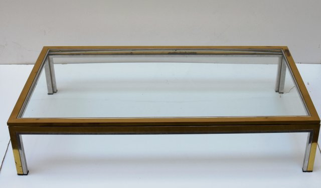 italian modern gold and silver coffee table 1970s