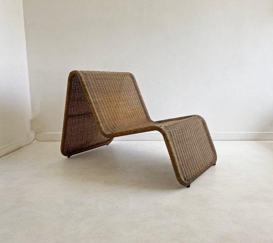 fauteuil vintage en rotin attribue a ikea 1960s