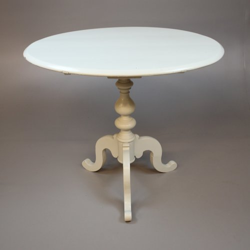 small antique swedish round dining table in white cream