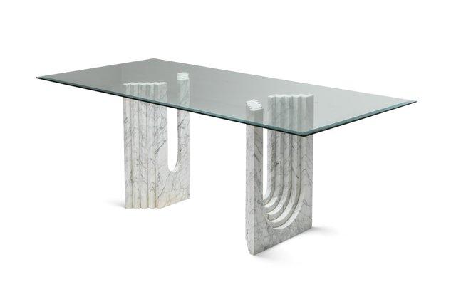 table de salle a manger en marbre blanc par scarpa 1970s