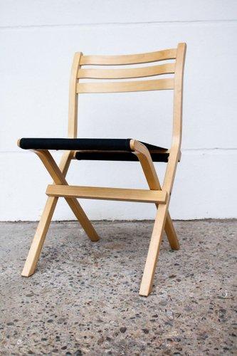 chaise pliante modele palo vintage en bouleau et tissu noir de ikea 1980s