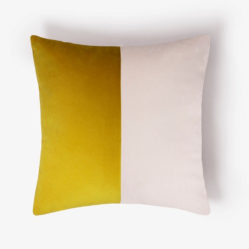 double optical mustard cushion cover by lorenza briola