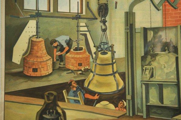 "German School ""bell-foundry"" Teaching Chart 1960s"
