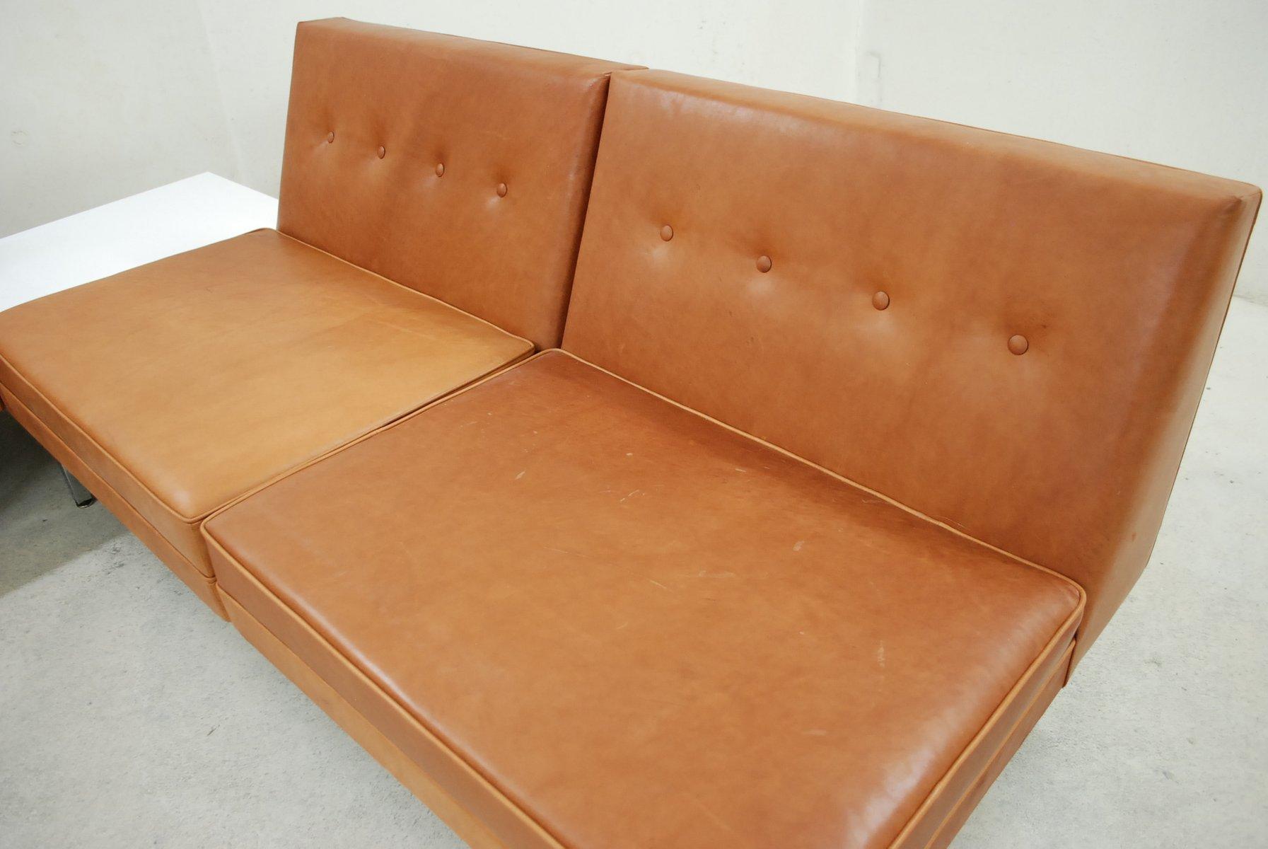 algarve leather sofa and loveseat set multiyork bed mattress cognac modular by george nelson for