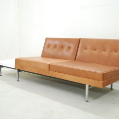 Herman Miller Modular Sofa Belgian Classic Slope Arm Cognac Leather Set By George Nelson For