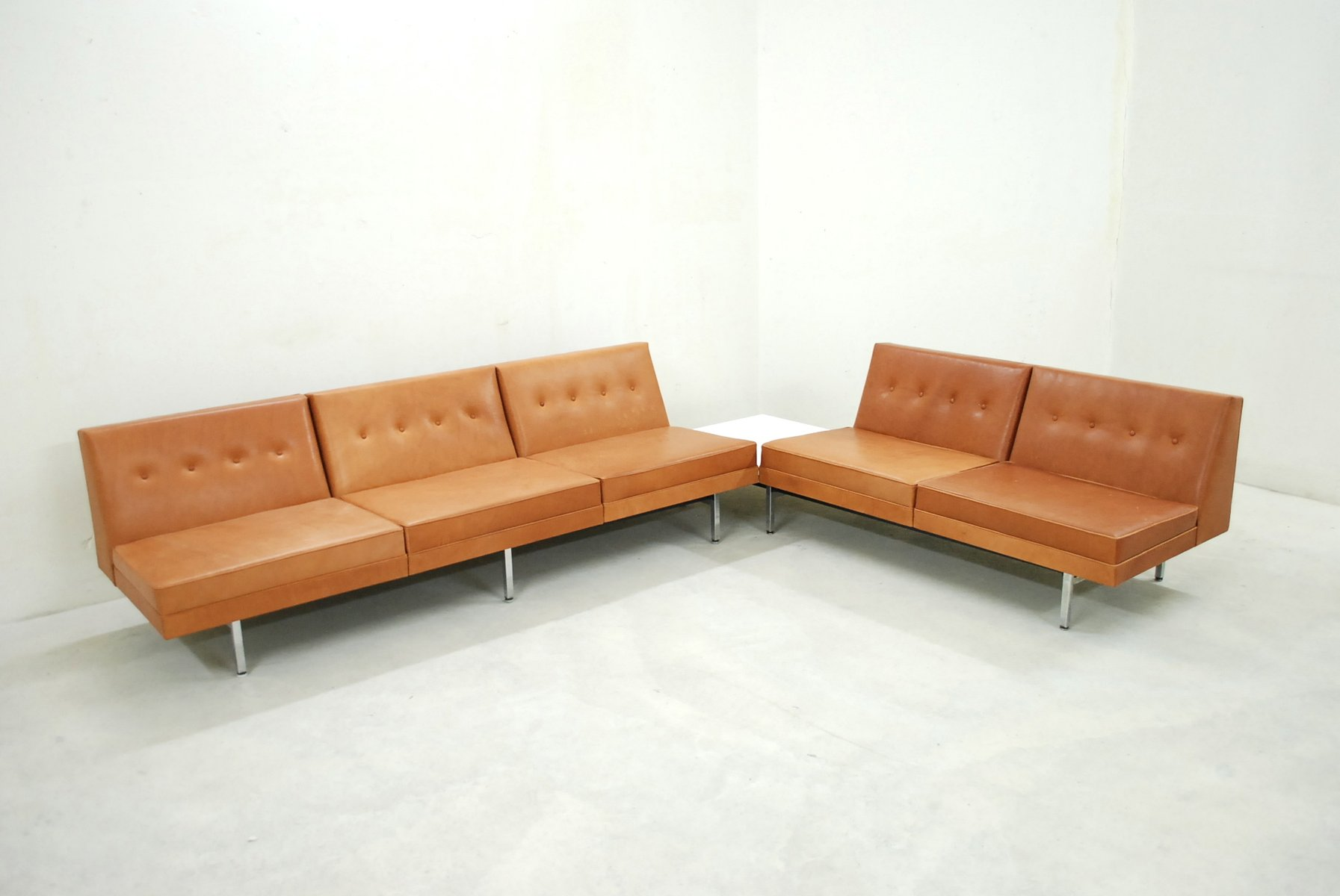 herman miller modular sofa replacing cushions cognac leather set by george nelson for