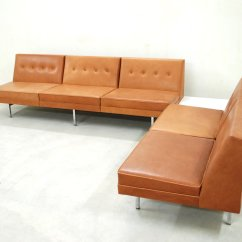 Algarve Leather Sofa And Loveseat Set Feather Filled Cognac Modular By George Nelson For