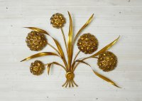 Vintage Gold-Leaf Flower Wall Lamp for sale at Pamono