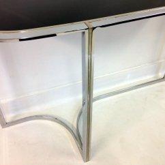 Vogue Chrome Sofa Table Omnia Oregon Leather Console Vintage En Et Verre Noir Vente Sur
