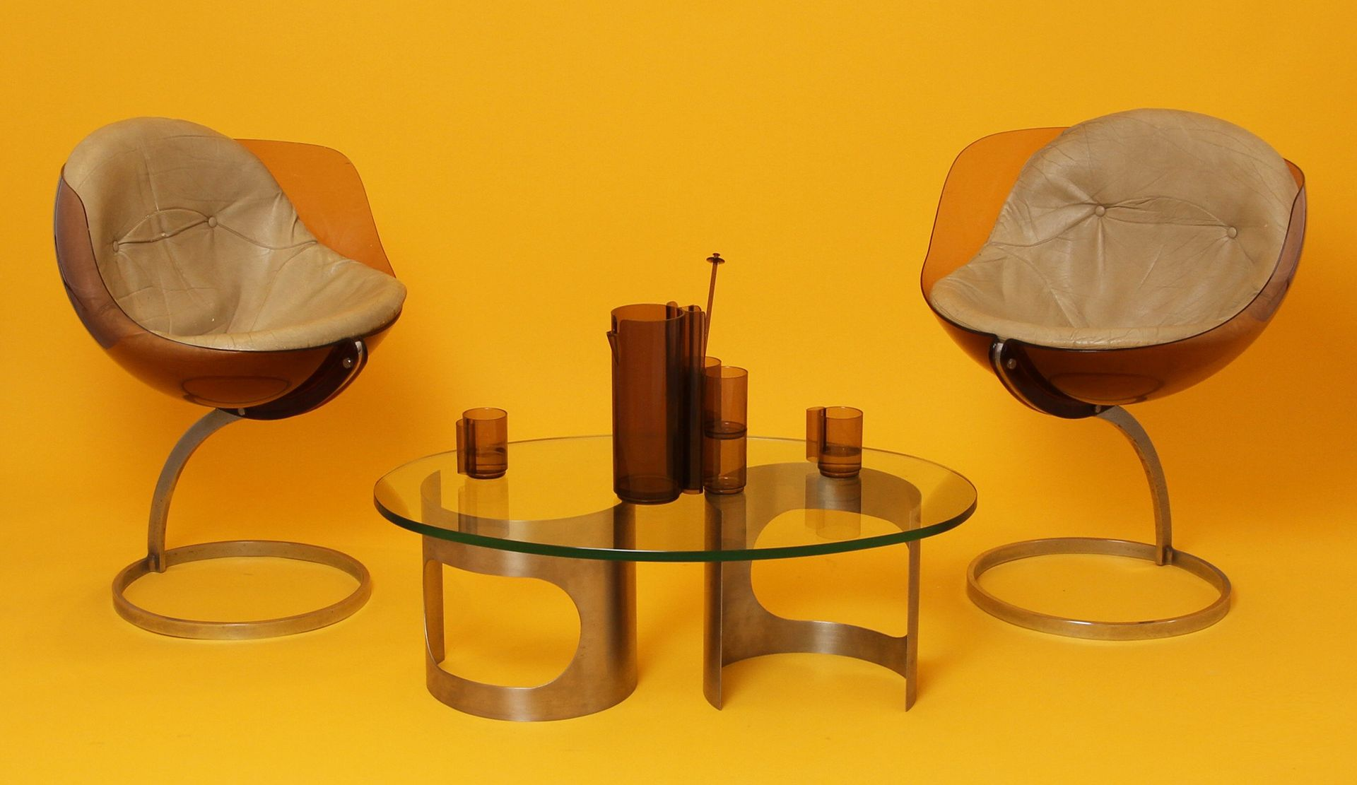 French Spherical Stainless Steel and Glass Top Coffee