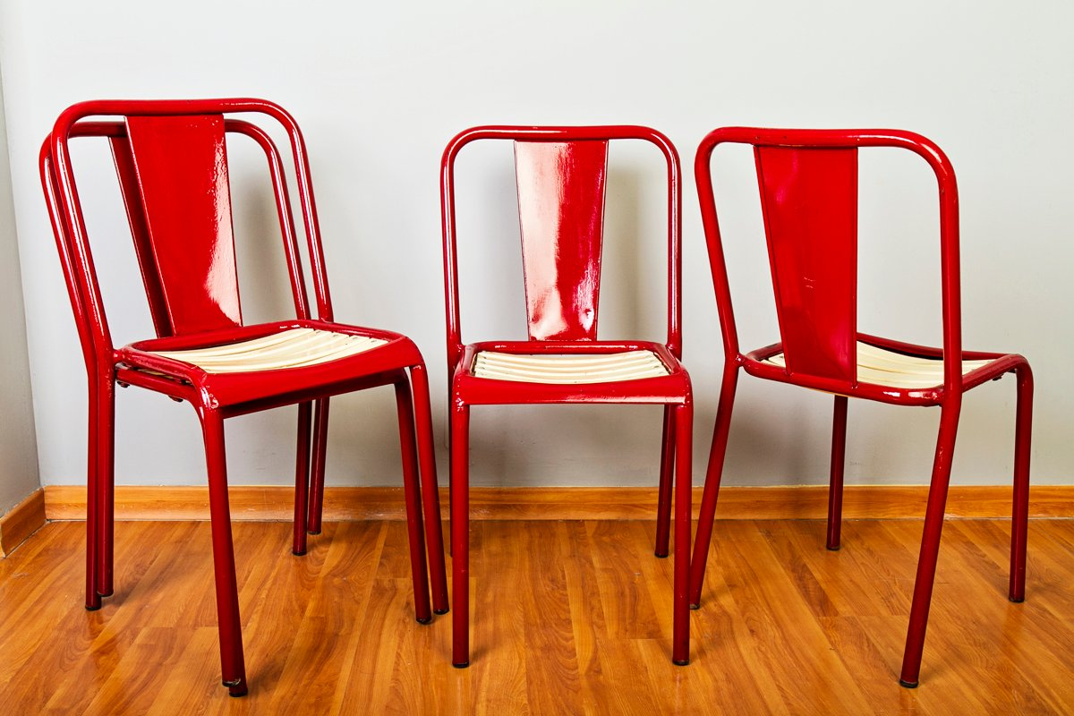 antique metal chairs for sale wheelchair hire sydney vintage french red set of 4 at pamono