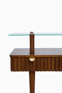 Swedish Mid-Century Birch, Brass and Glass Console Table ...