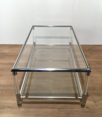 Vintage Chrome and Plexiglass Coffee Table for sale at Pamono