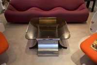 French Stainless Steel and Glass Coffee Table by Franois