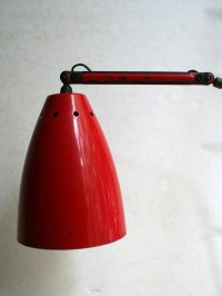 Red Industrial Table Lamp for sale at Pamono