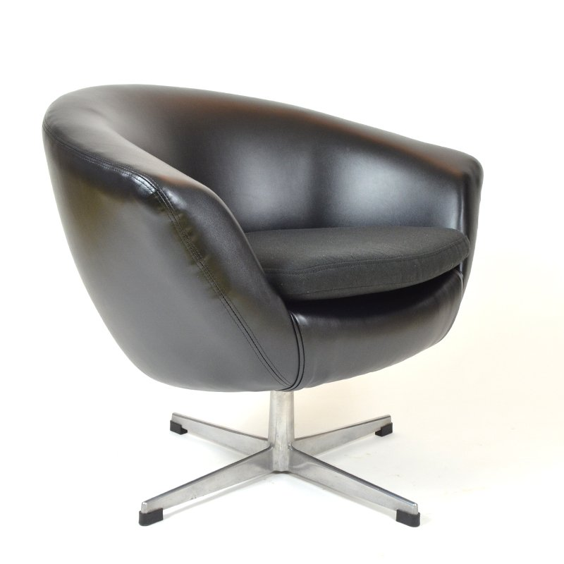 Black Leatherette Egg Chair by UP Zavody Rousinov for sale at Pamono