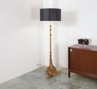 Vintage Gold Plated Wooden Floor Lamp for sale at Pamono