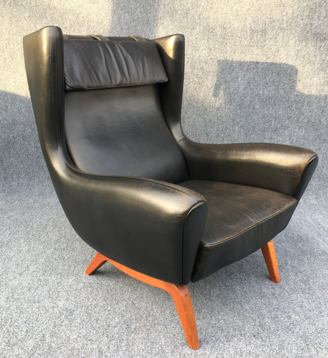 Black Leather Lounge Chair Black Leather Lounge Chair By Illum Wikkelsø For Søren Willadsen Møbelfabrik 1950s