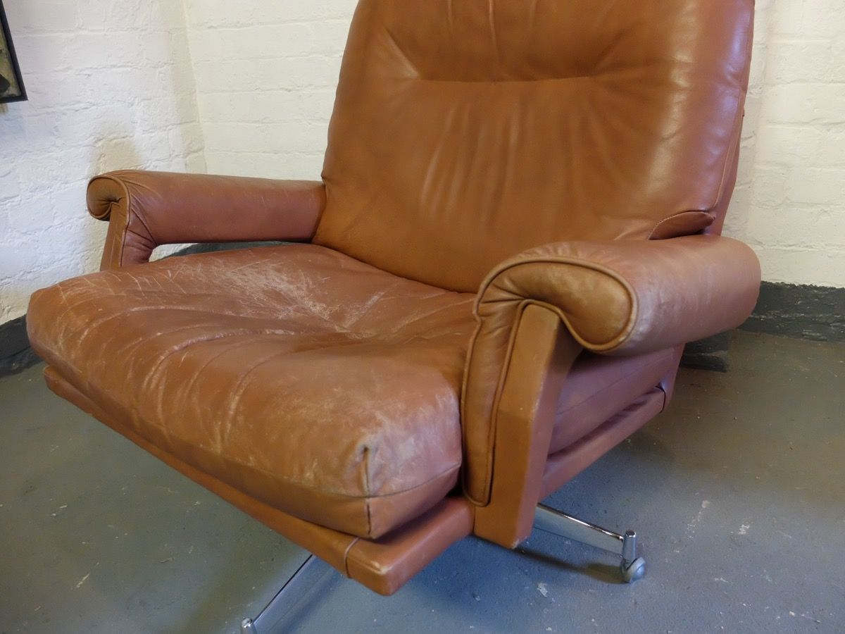 revolving lounge chair vintage metal chairs for sale leather by howard keith 1960s