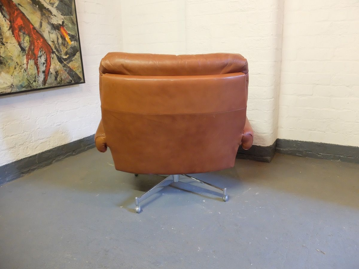 revolving lounge chair chairs and tables rental leather by howard keith 1960s for