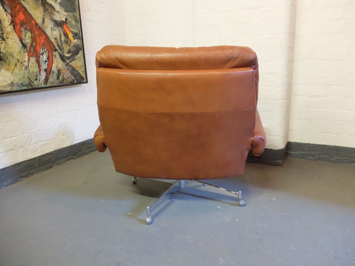 revolving lounge chair desk without wheels target leather by howard keith 1960s for
