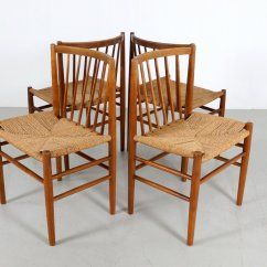 Danish Dining Chair Baby Rocking Glider Scandinavian Chairs In Oak And Paper Cord By Jorgen Baekmark Price Per Set