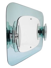 Italian Bathroom Mirror with Sconces from Mazzega, 1970s