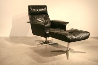 Mid-Century Leather Lounge Chair and Ottoman by Hans ...