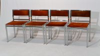 Mid-Century Dining Chairs in Tubular Chrome and Leather ...