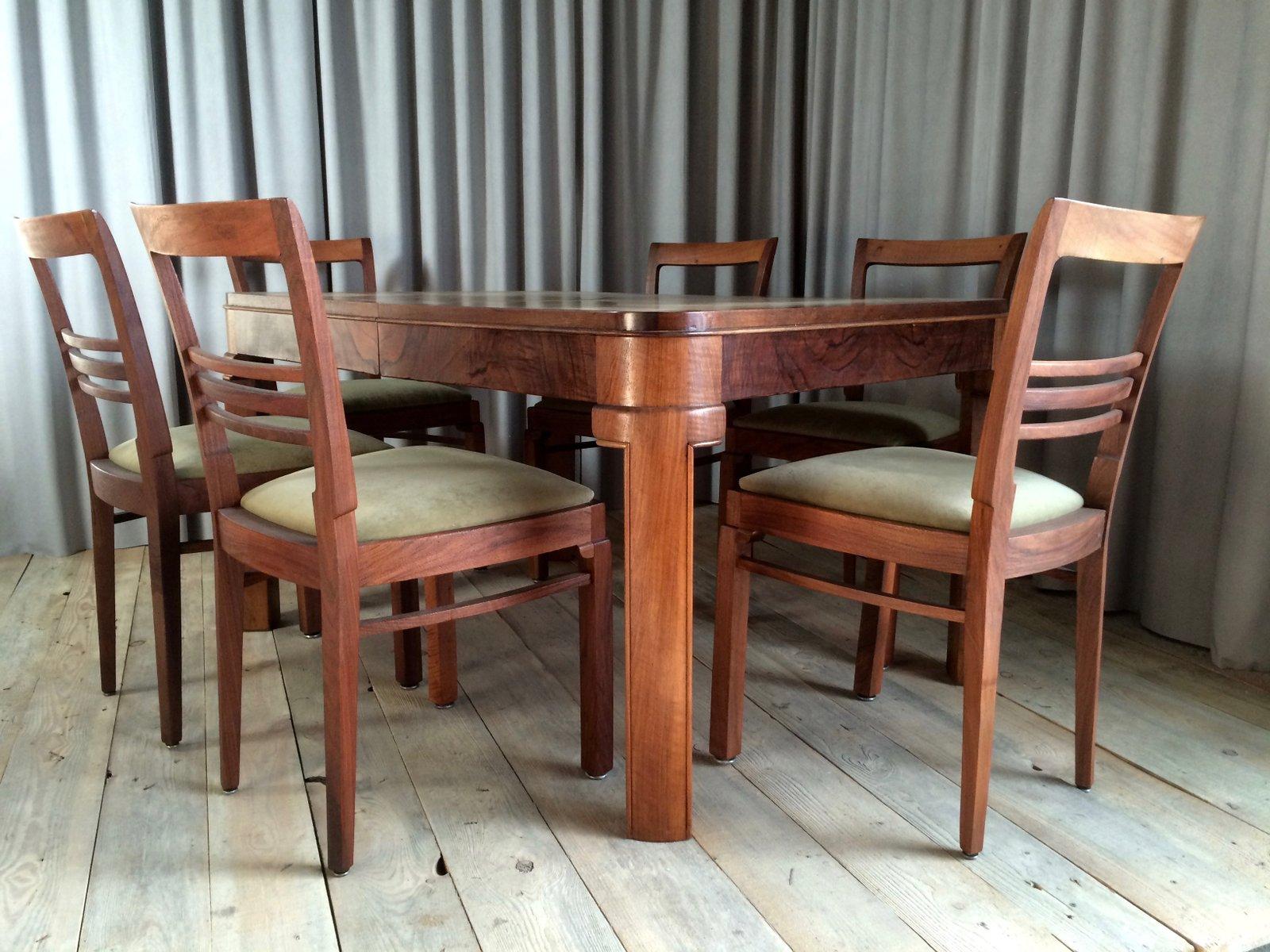 Set da pranzo con 7 sedie Francia anni 20 in vendita su Pamono