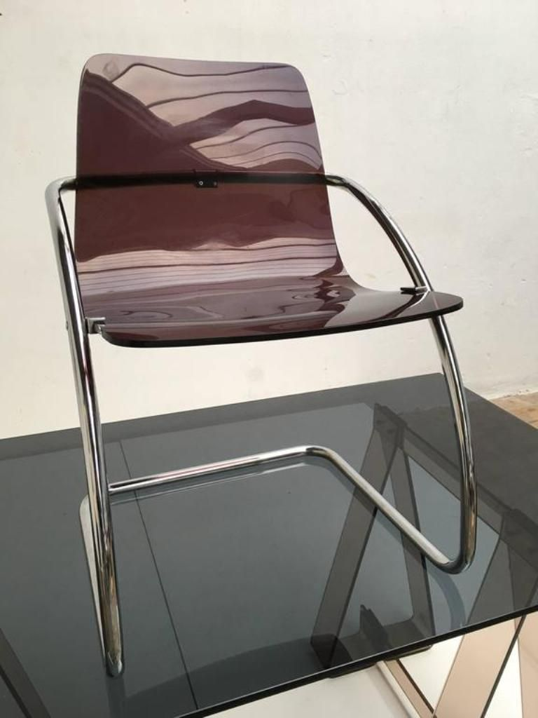 Lucite Chair Smoked Acrylic And Glass Trestle Desk With A Lucite And Tubular Chrome Chair 1970s