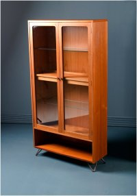 Mid-Century Teak Glass Display Drinks Cabinet from G-Plan ...