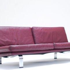 Plum Leather Sofa Craftmaster Jackson Italian 1960s Bei Pamono Kaufen