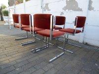 Mid-Century Dark Orange Velours and Chrome Floating Chairs ...
