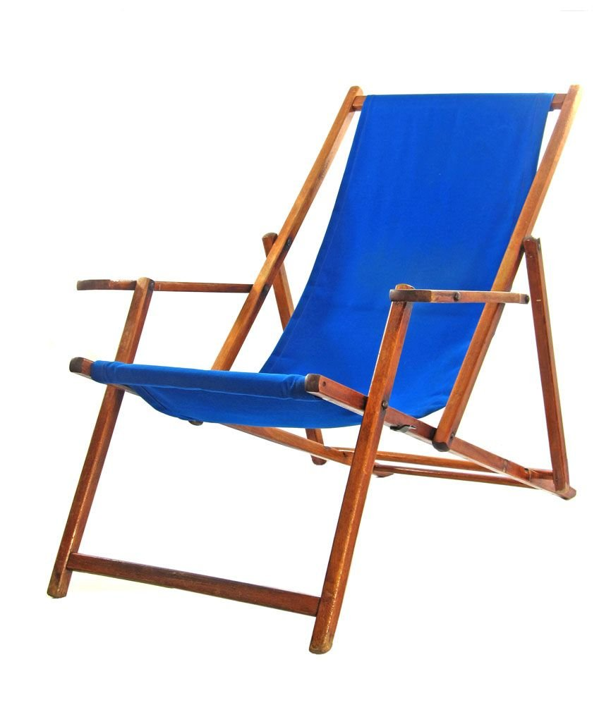 Folding Wood Beach Chair Blue Vintage Adjustable Beach Chair