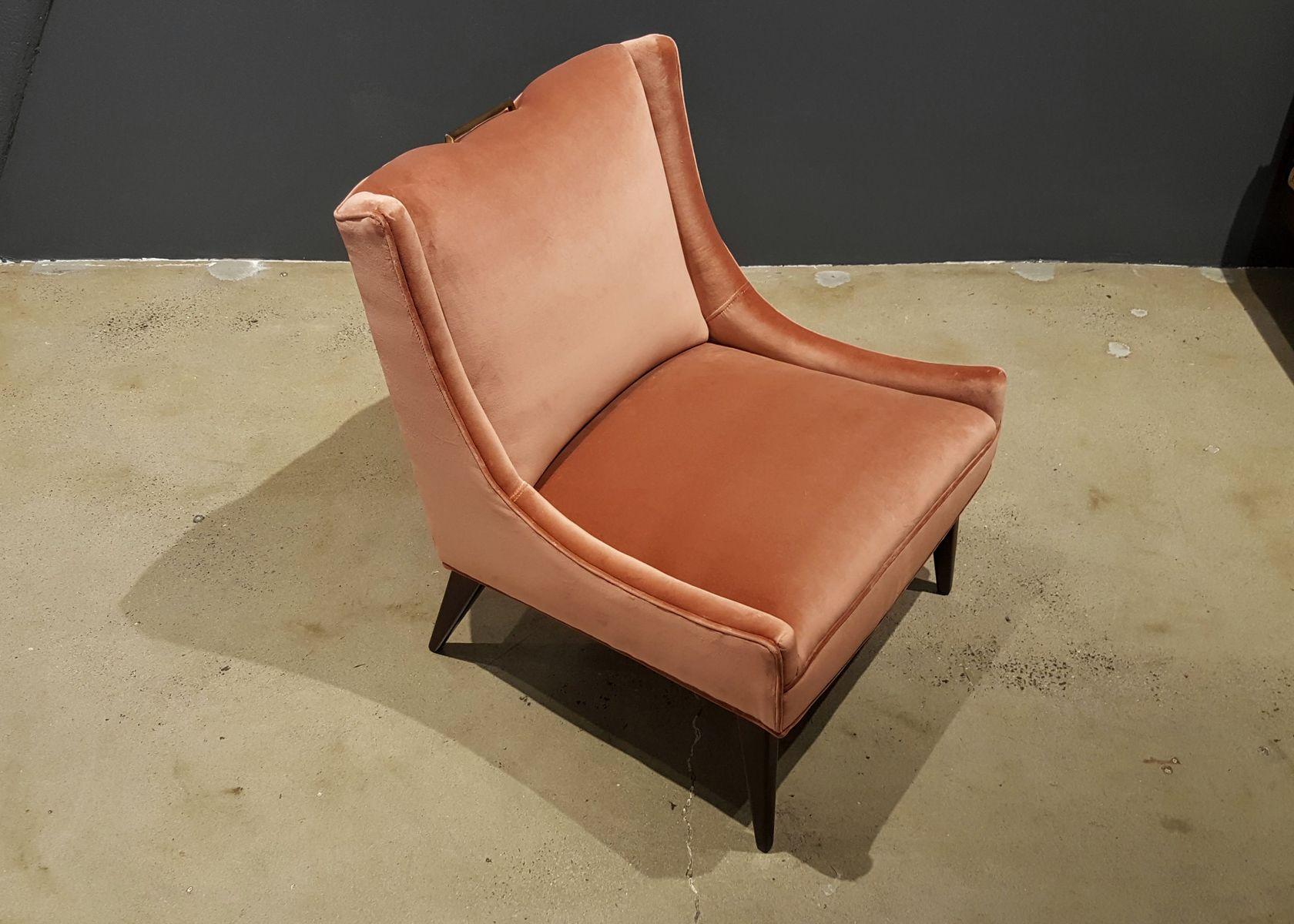 brown slipper chair upholstered rocking in rosy salmon velvet by harvey probber 1960s for price per piece