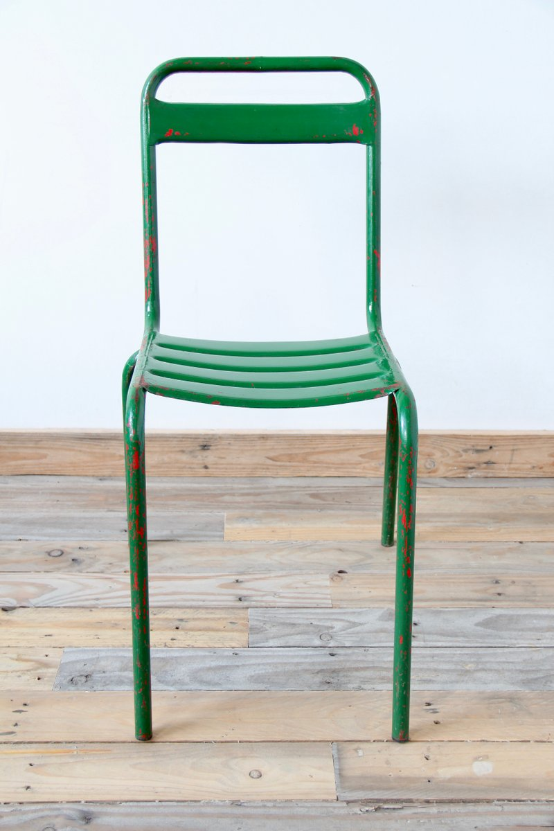 green metal bistro chairs bedroom desk chair vintage tyres2c for at pamono