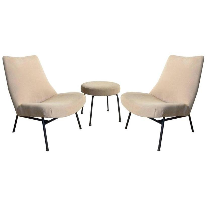 chair and matching stool massaging pad mid century lounge chairs with by pierre guariche set of 3
