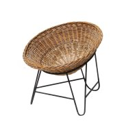 Mid-Century French Rattan Basket Chair, 1950s for sale at ...