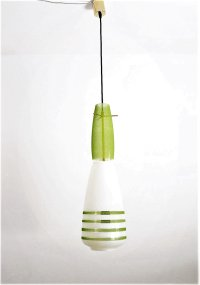 Italian Green Glass Lamp with Brass, 1960s for sale at Pamono